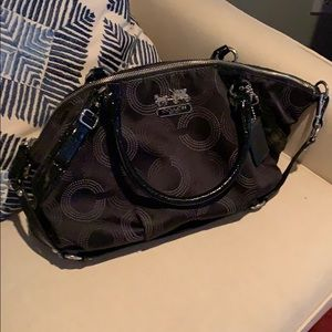 Black coach purse with silver hardware